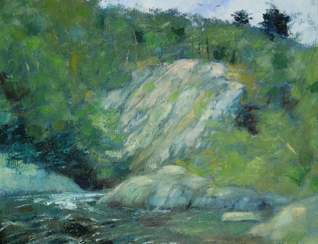 2012, oil on canvas, 16 x 20 inches, in PRIVATE COLLECTION   Plein air, on Kenduskeag Stream in Bangor, Maine