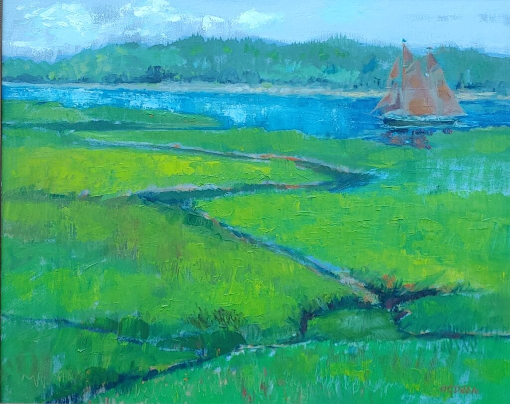 Inspired by windjammer Angelique of Camden, Maine Oil on canvas, 18 x 24 inches Product number 4622 Product image