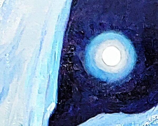 Greenland Ice Sheet III, moon and blue ice, by Alison C. Dibble