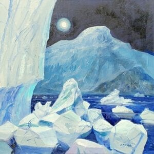 Greenland Ice Sheet III moon and blue ice by Alison C. Dibble