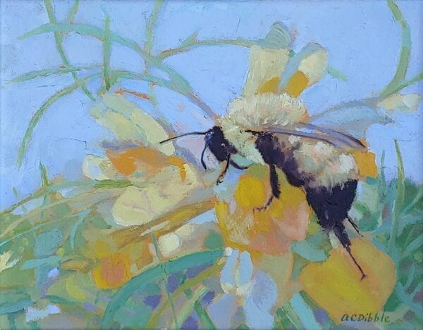 Bumble bee on butter-and-eggs, by Alison C. Dibble, 11 x 14 inches oil on canvas