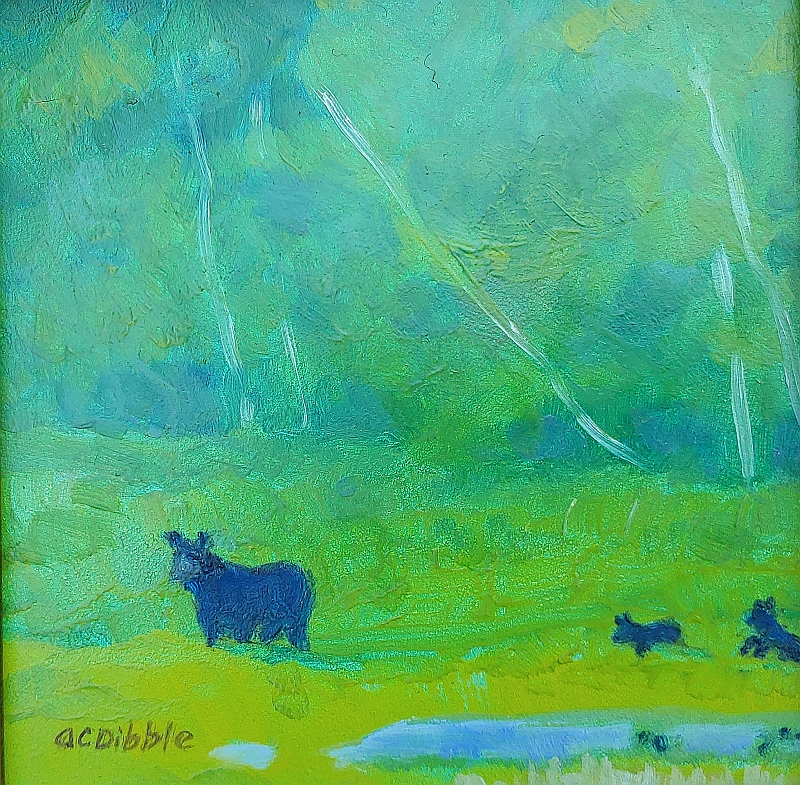 -Bear and her cubs, by Alison C. Dibble, oil on panel 6 x 6 inches_4353 (1)
