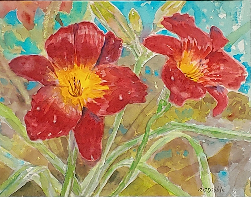 _Red daylilies by Alison C. Dibble, watercolor 11 x 14 inches product image