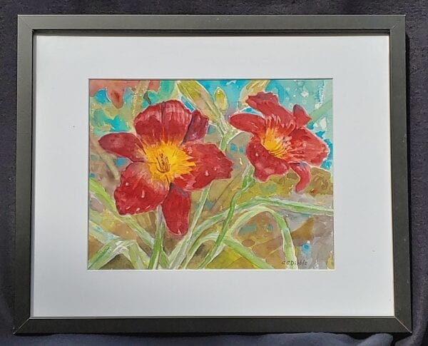 Red daylilies, Alison C. Dibble, watercolor, 11 x 14 inches 4548