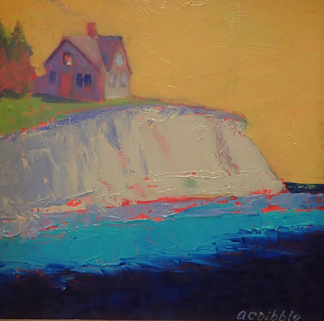 Little house above the shore, oil on panel, 6 x 6 inches, by Alison C. Dibble